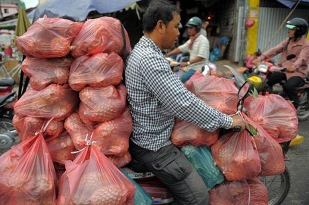 Em 16 de março de 2011, um homem foi flagrado andando com uma moto superlotado de sacos com abacaxis em um mercado em Phnom Penh, no Camboja (Foto: Tang Chhin Sothy/AFP)