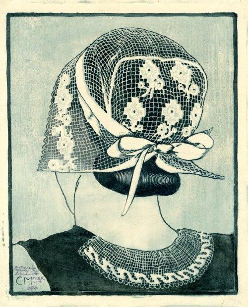 Bretonische Haube (A Breton bonnet). Woodcut, Carl Moser, German, 1916. (via British Museum)