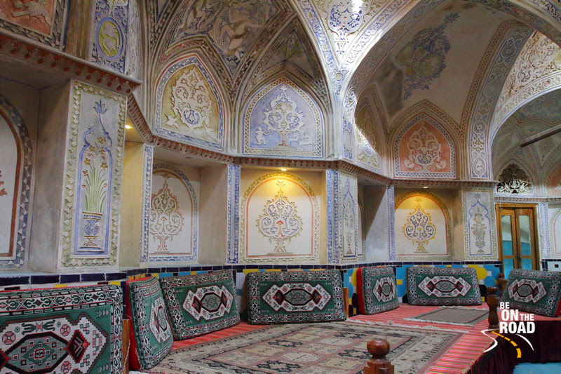 Colorful interiors inside the hamam of one of Kashan's traditional houses