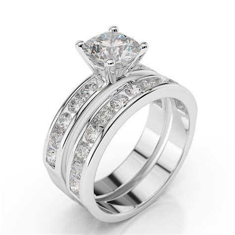 1 3/4 CT Diamond Engagement Ring Set Round H/SI1 14K White