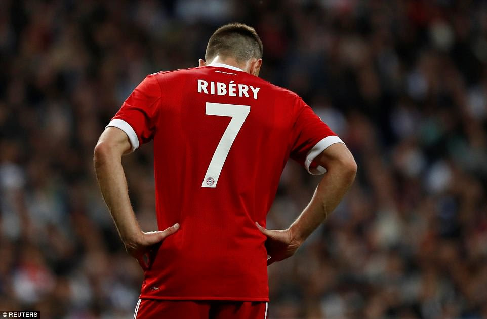 Bayern Munich winger Franck RIbery looks dejected as his Bayern Munich side fall at the Champions League semi-final stage