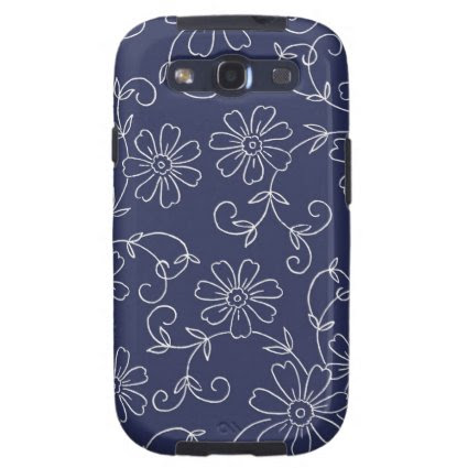 Blue and White Floral Samsung Galaxy S Case Galaxy SIII Cases