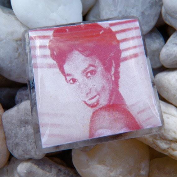 Red post earrings  Dorothy Dandridge, resin coated, glass finish,square (51)
