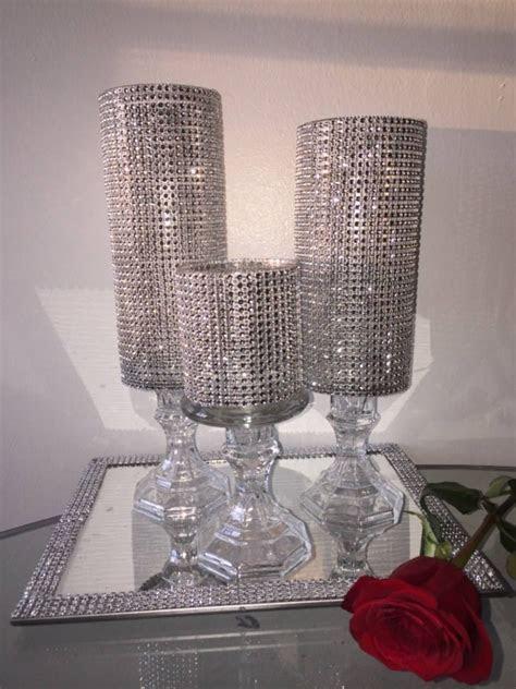 Wedding centerpiece,Three Rhinestone vase,candle holder