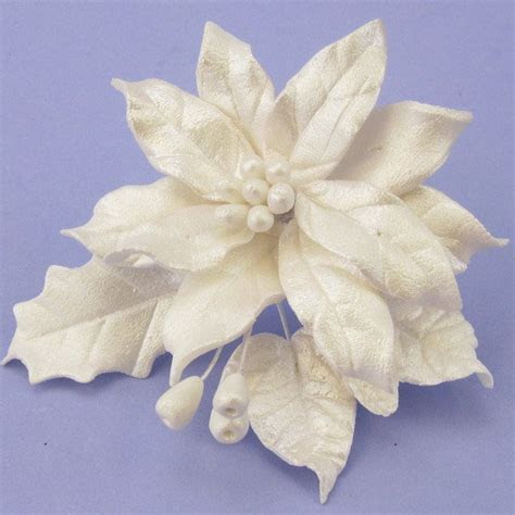 Pearl White Sugar Poinsettia & Leaves Spray