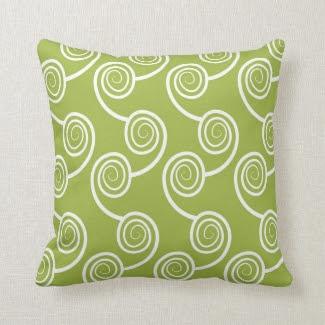 Trendy White Swirl pattern On Green