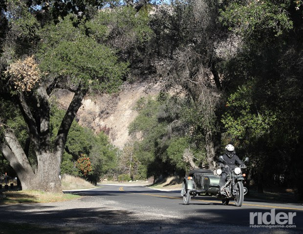 On pavement, the Ural is happiest when tootling along country roads at a sedate 45 mph.