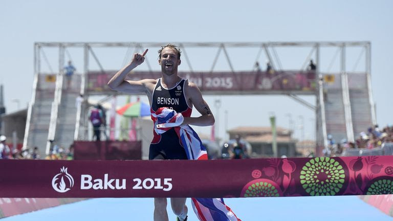 Gordon Benson crosses the line to win gold in Baku