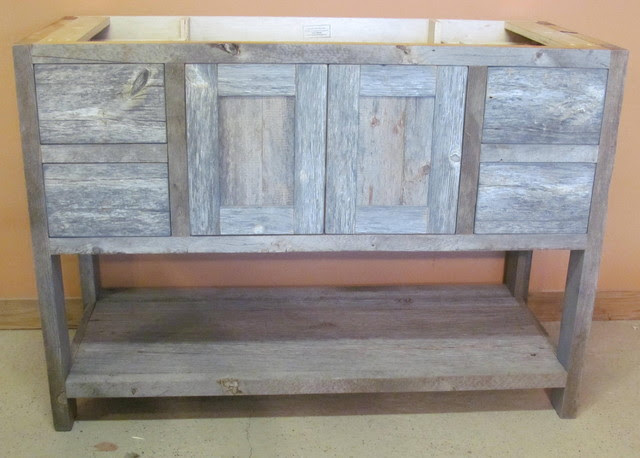Reclaimed Barn Wood Bathroom - traditional - bathroom vanities and ...