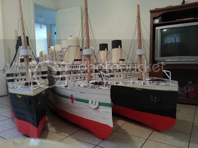 Olympic, Titanic and Britannic scratch built cardboard ship models