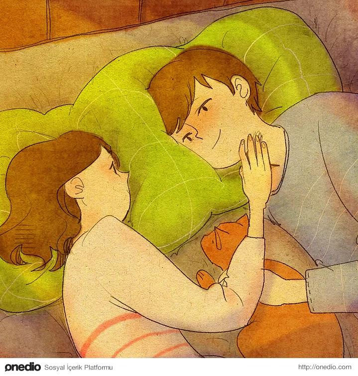 """""""Yatağa uzanıp sadece uzun uzun bakıştık."""""""