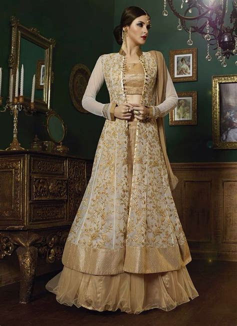 Cream and beige embroidered indo western lehenga in 2019