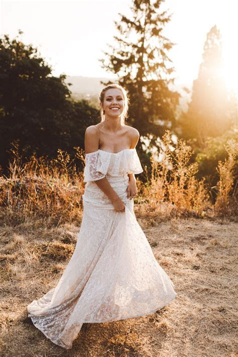 Lottie Off Shoulder Lace Wedding Dress   Dreamers and Lovers