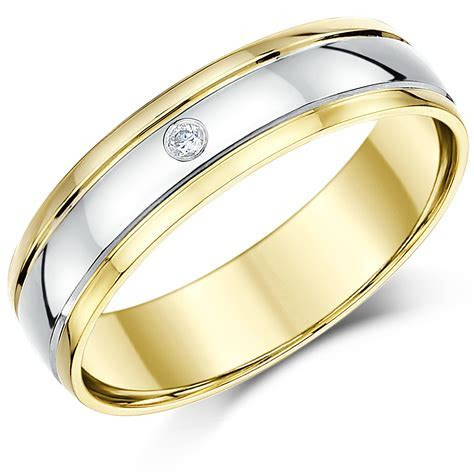 5mm 9ct Two Colour Gold Diamond Wedding Ring Band   Two