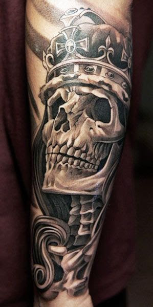 Skull With Crown Tattoo On Full Sleeve