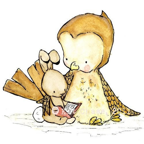 Tell Me A Story 8x10 Archival Print with a brown bunny  Childrens Nursery Art for Baby
