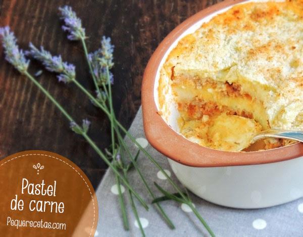 Receta deliciosa con carne picada y patata, pastel de carne gratinado