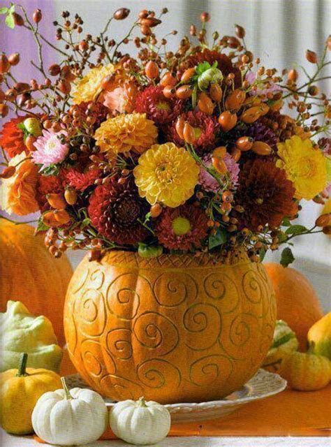 Fall Centerpiece with Mums in Pumpkins www