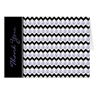 Modern Black Purple Chevron Peace Signs Thank You
