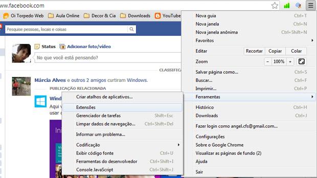 Acessando o Chrome para eliminar o malware (Foto: Claudia Sardinha)