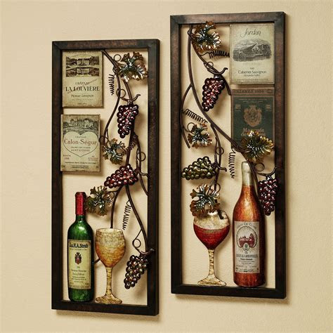 valley vineyard metal wall art set winegrapes
