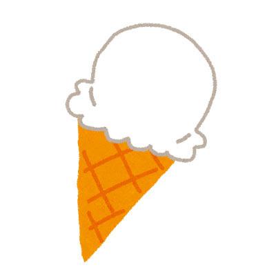 無料素材 コーンに乗った美味しそうなアイスクリームを描いたフリー