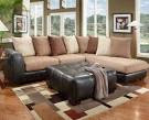 Brown Bonded Leather and Tan Microfiber Sectional | All American ...
