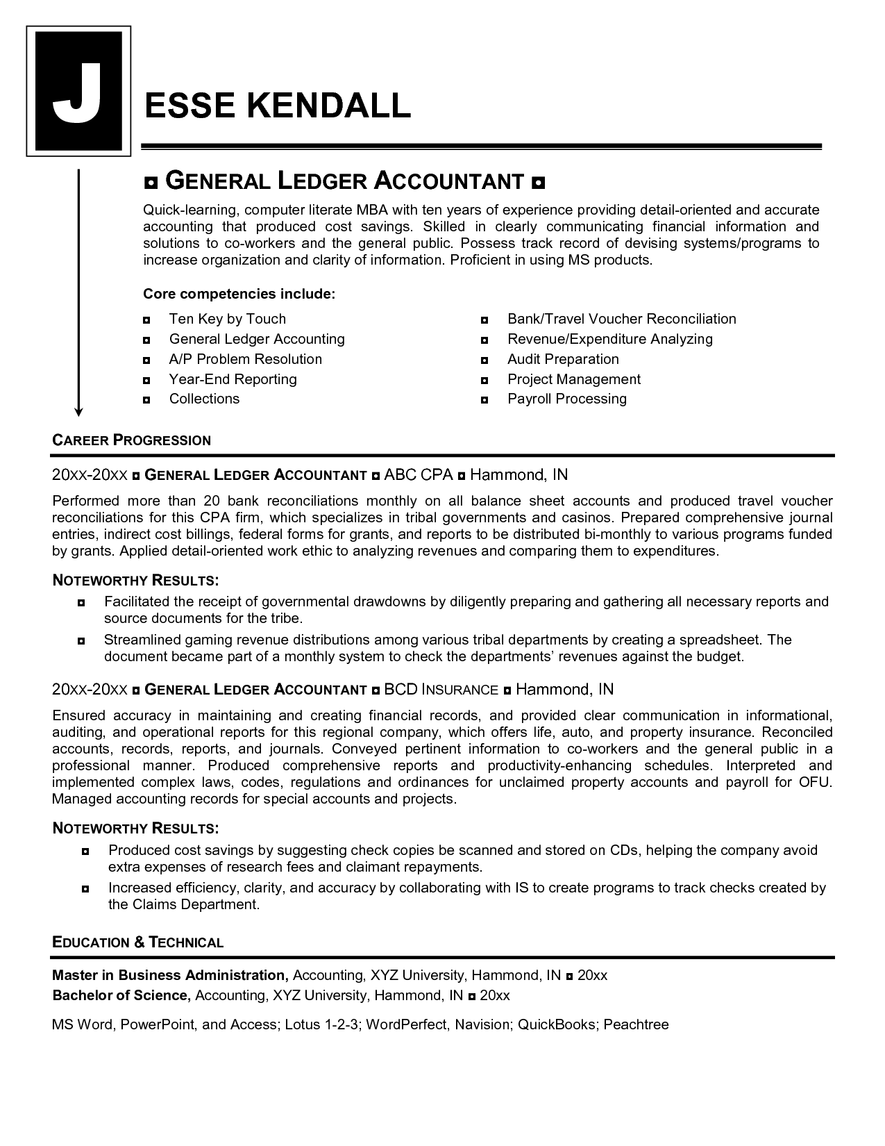 General Ledger Accountant Resume Mikes Blog