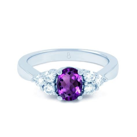 18ct White Gold Amethyst & Diamond Vintage Engagement Ring