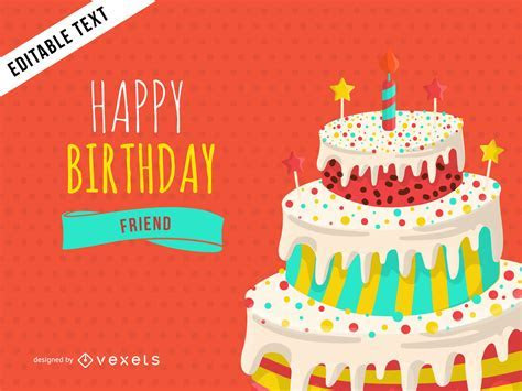 Happy Birthday greeting card design   Vector download