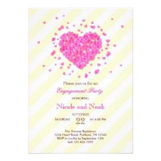 Confetti Heart Engagement Party Invitation