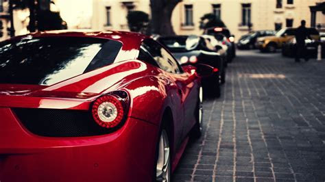 Download 1920x1080 HD Wallpaper ferrari sports car luxury mansion blur, Desktop Backgrounds HD