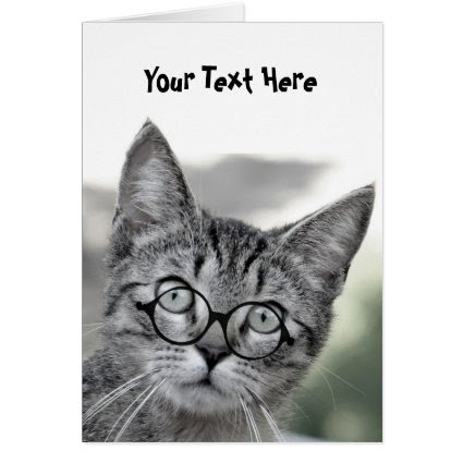 Cute Surprised Cat with Glasses Greeting Card