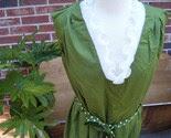 MOD OLIVE GREEN SLEEVELESS DRESS WITH RUFFLE COLLAR  Plus Size