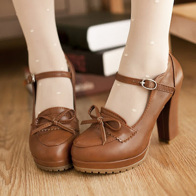 Cute retro princess bowknot heels