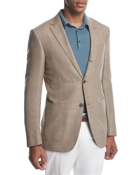 Ermenegildo Zegna Three Button Wool Silk Linen Blazer, Tan