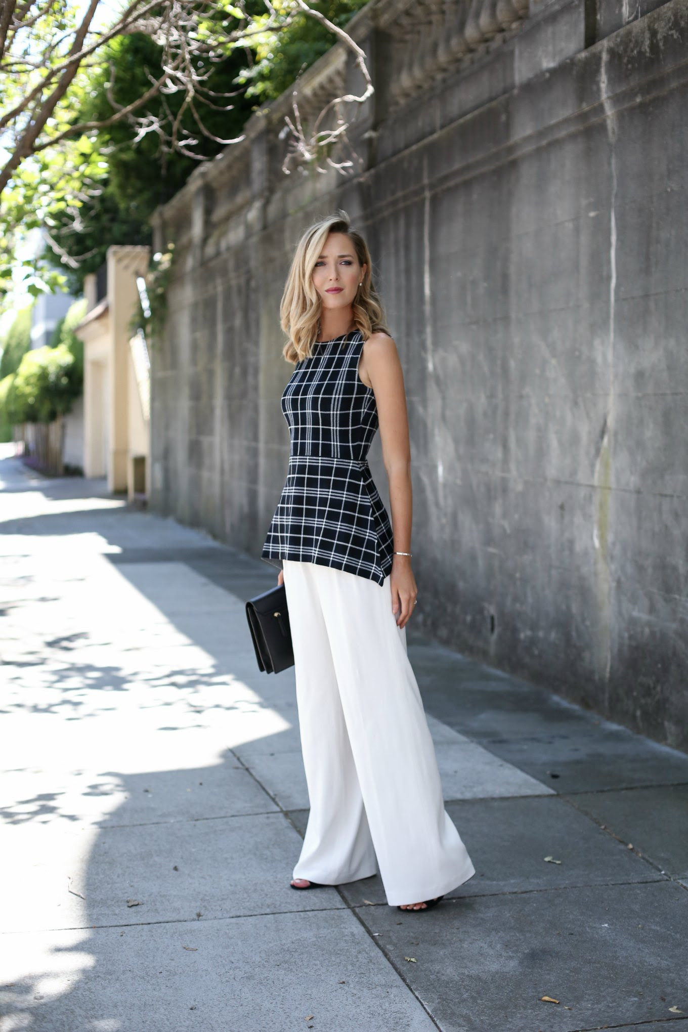 black-white-plaid-peplum-theory-knit-top-ivory-wide-leg-pants-block-heel-suede-sandals-steve-madden-work-wear-office-style-fashion-blog-san-francisco-sf-mary-orton3
