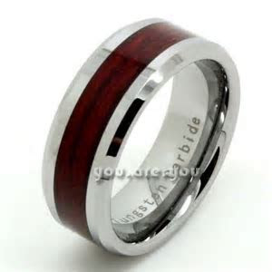 8MM Mens Tungsten Ring Brown Wood Inlay Wedding Band