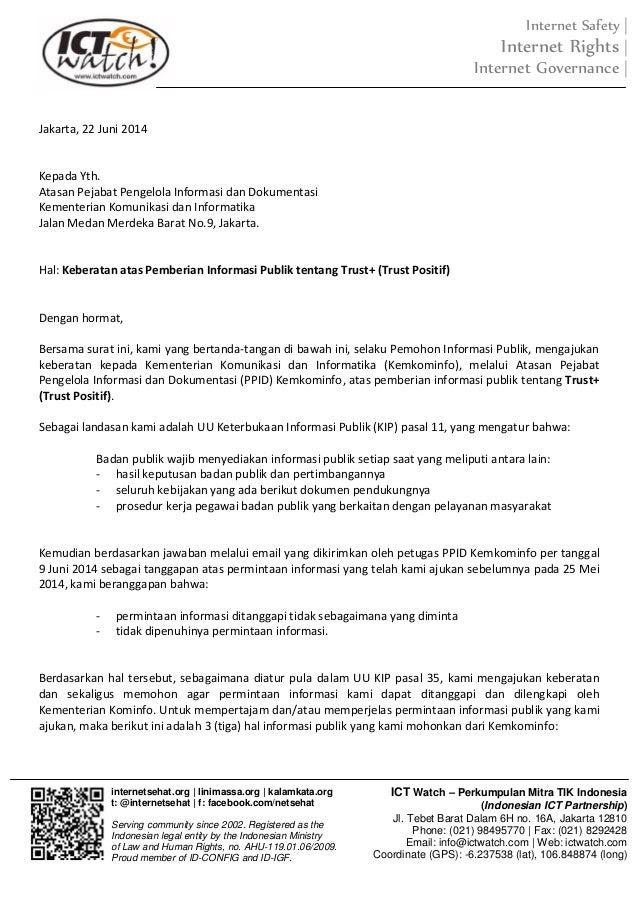 surat keberatan atas tanggapan permohonan informasi trust