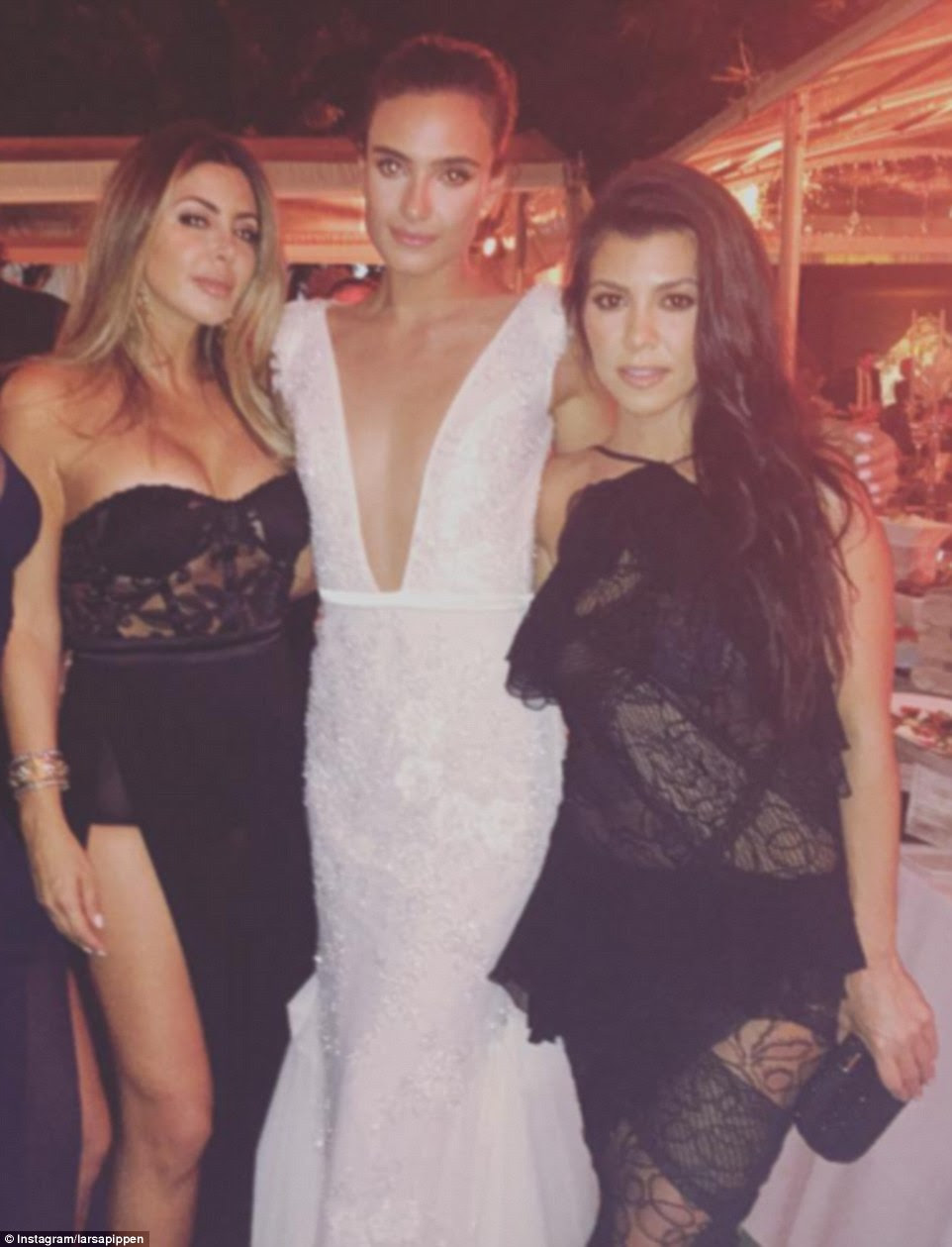 Bride Isabela Rangel pictured with  Larsa Pippen, wife of former NBA star Scottie Pippen, and Kourtney Kardashian