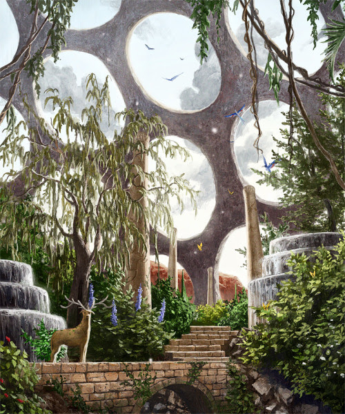 whose-responsible-this:  Trame by lathander1987  This is a better place to dream about. A garden with reindeer and butterflies. A small waterfall cascading over the rocks. Birds flying high in the sky. Dream on!