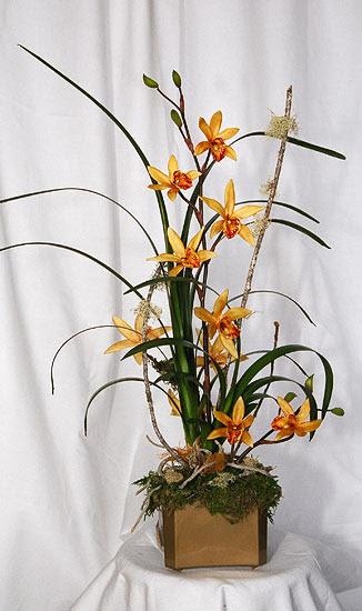 Tropical Silk Flower Arrangement in Bamboo