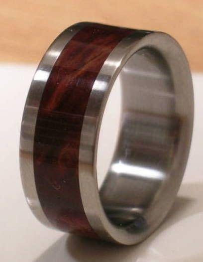Tungsten Wooden Wedding Band DESERT IRON WOOD Mens by
