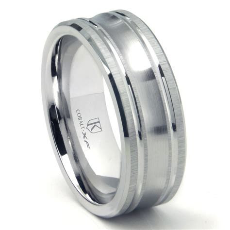 Cobalt XF Chrome 9MM Concave Wedding Band Ring w/ Coinedge