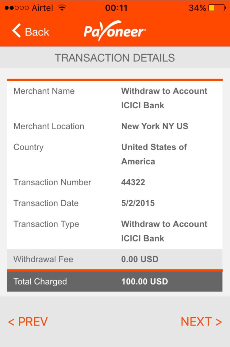 Transaction details on mobile