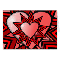 Pink Hearts in Red Abstract Design Card