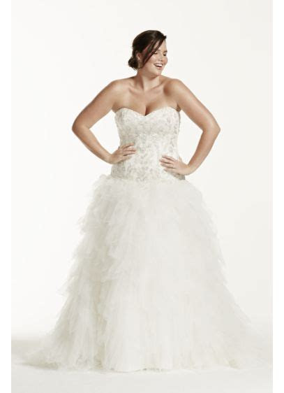 Tulle Plus Size Wedding Dress with Ruffled Skirt   David's