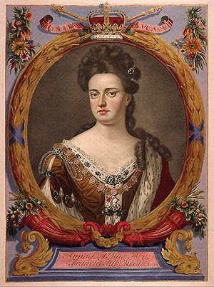 Tinted engraving of Queen Anne from an atlas c...