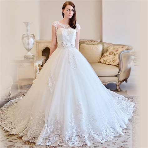 OMYW0083 cap sleeve lace wedding dresses crystal beads