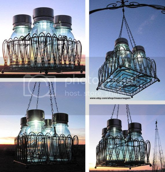 Mason Jar Chandelier with Solar Lights